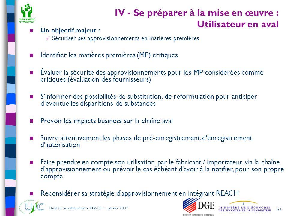 IV - Se préparer à la mise en œuvre : Utilisateur en aval