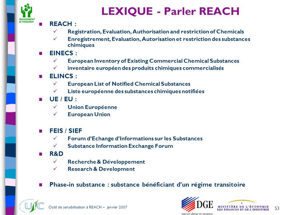 LEXIQUE - Parler REACH REACH : EINECS : ELINCS : UE / EU : FEIS / SIEF