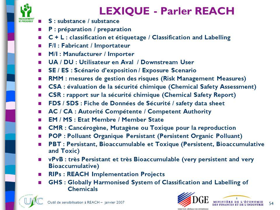 LEXIQUE - Parler REACH S : substance / substance