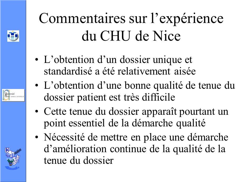 Commentaires sur l'expérience du CHU de Nice
