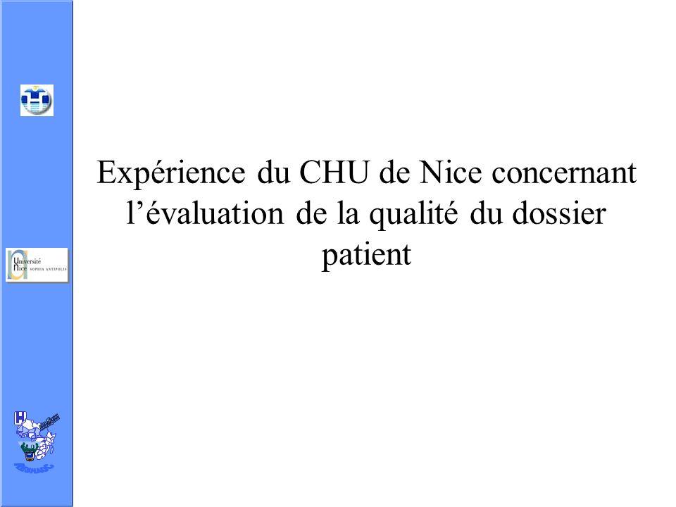Expérience du CHU de Nice concernant l'évaluation de la qualité du dossier patient