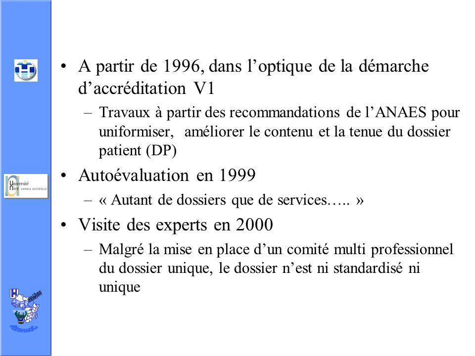 A partir de 1996, dans l'optique de la démarche d'accréditation V1