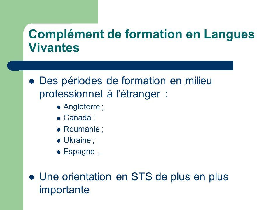 Complément de formation en Langues Vivantes