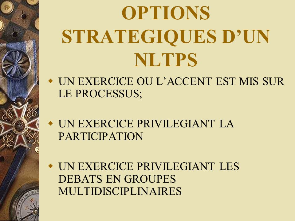 OPTIONS STRATEGIQUES D'UN NLTPS