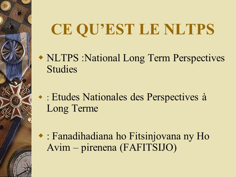 CE QU'EST LE NLTPS NLTPS :National Long Term Perspectives Studies