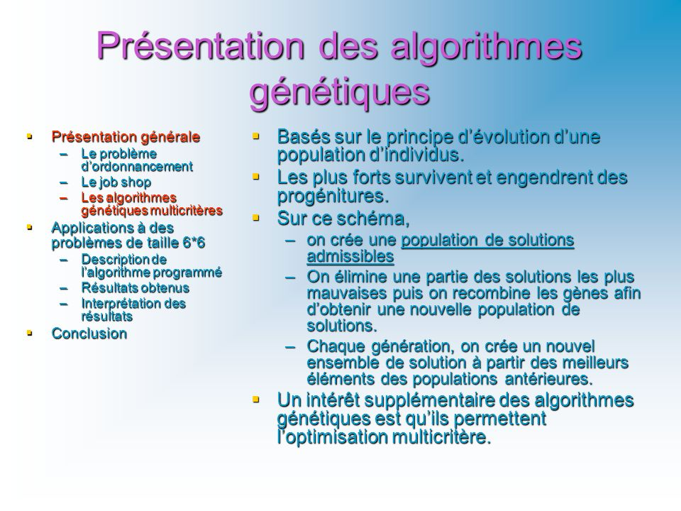 Présentation des algorithmes génétiques