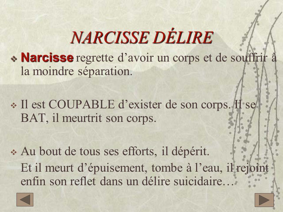 NARCISSE DÉLIRE Narcisse regrette d'avoir un corps et de souffrir à la moindre séparation.