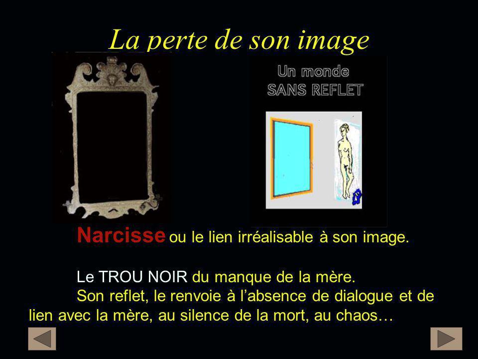 La perte de son image Narcisse ou le lien irréalisable à son image.