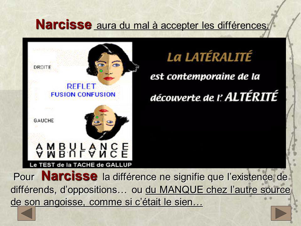Narcisse aura du mal à accepter les différences.