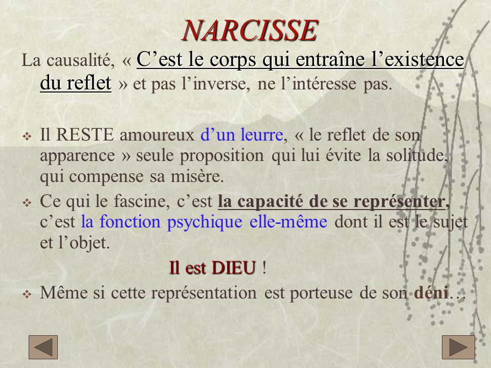 NARCISSE La causalité, « C'est le corps qui entraîne l'existence du reflet » et pas l'inverse, ne l'intéresse pas.