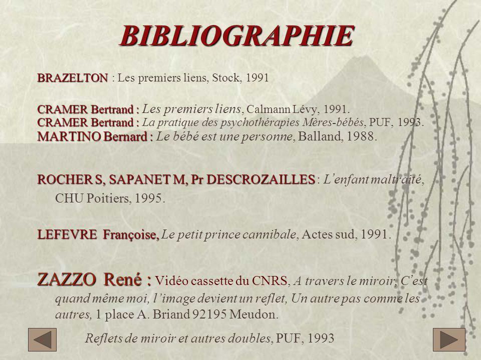 BIBLIOGRAPHIE BRAZELTON : Les premiers liens, Stock, 1991. CRAMER Bertrand : Les premiers liens, Calmann Lévy, 1991.