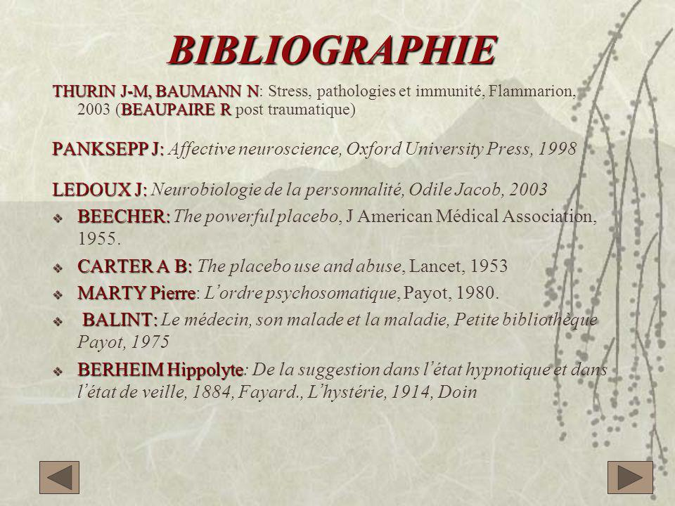 BIBLIOGRAPHIE THURIN J-M, BAUMANN N: Stress, pathologies et immunité, Flammarion, 2003 (BEAUPAIRE R post traumatique)