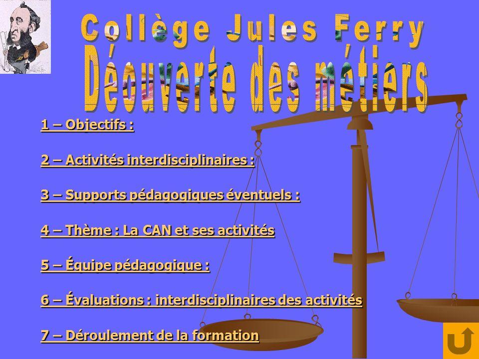 Collège Jules Ferry Déouverte des métiers 1 – Objectifs :