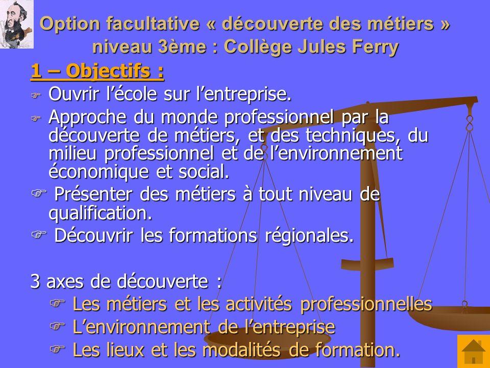 Option facultative « découverte des métiers » niveau 3ème : Collège Jules Ferry