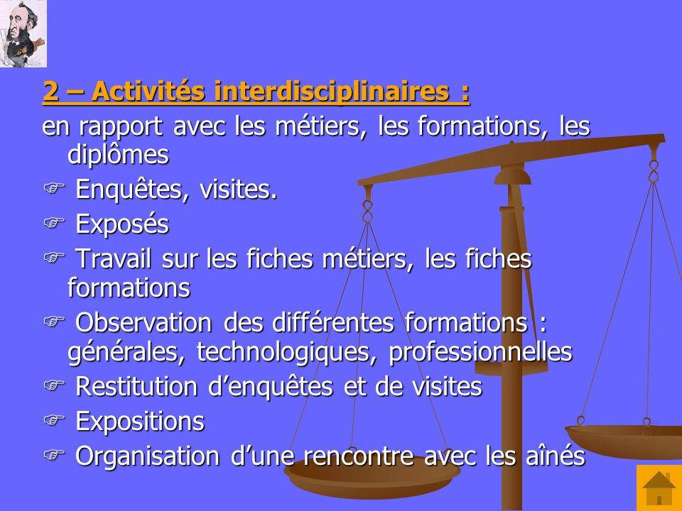 2 – Activités interdisciplinaires :