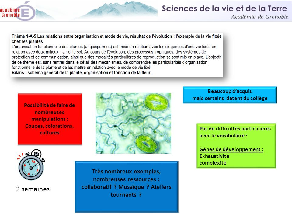 2 semaines Sciences de la vie et de la Terre