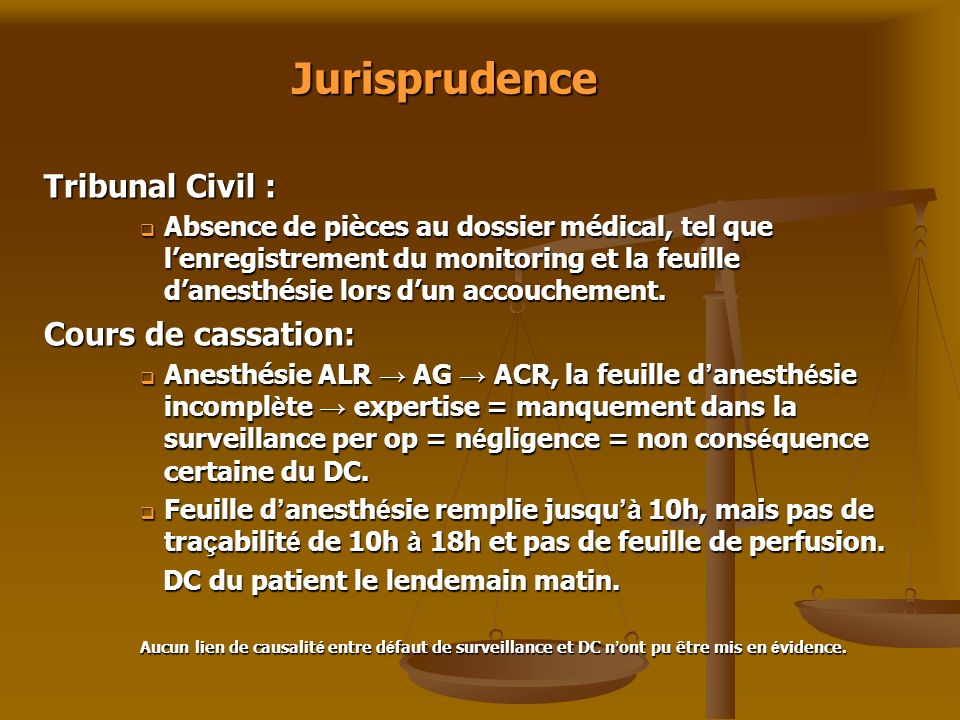 Jurisprudence Tribunal Civil : Cours de cassation: