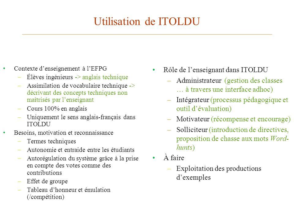 Utilisation de ITOLDU Rôle de l'enseignant dans ITOLDU