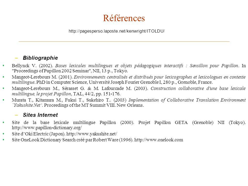 Références Bibliographie Sites Internet