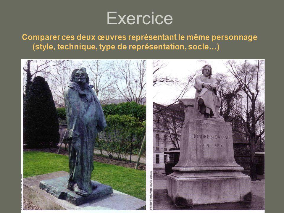 Exercice Comparer ces deux œuvres représentant le même personnage (style, technique, type de représentation, socle…)