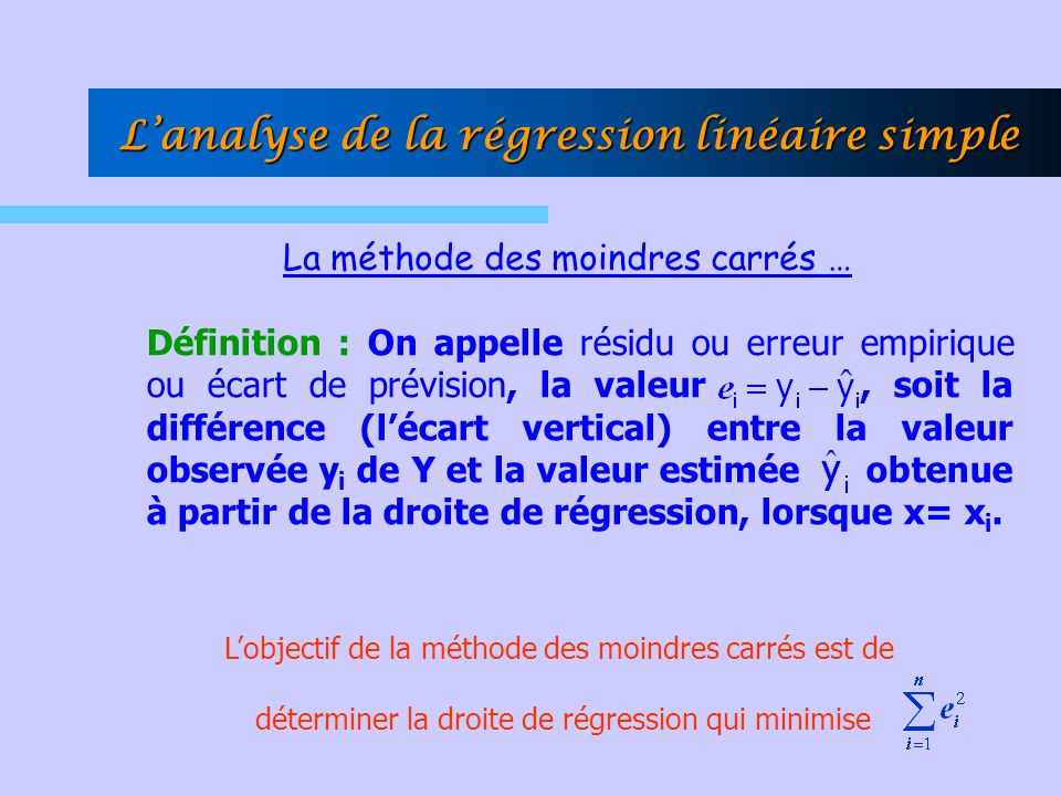 L'analyse de la régression linéaire simple