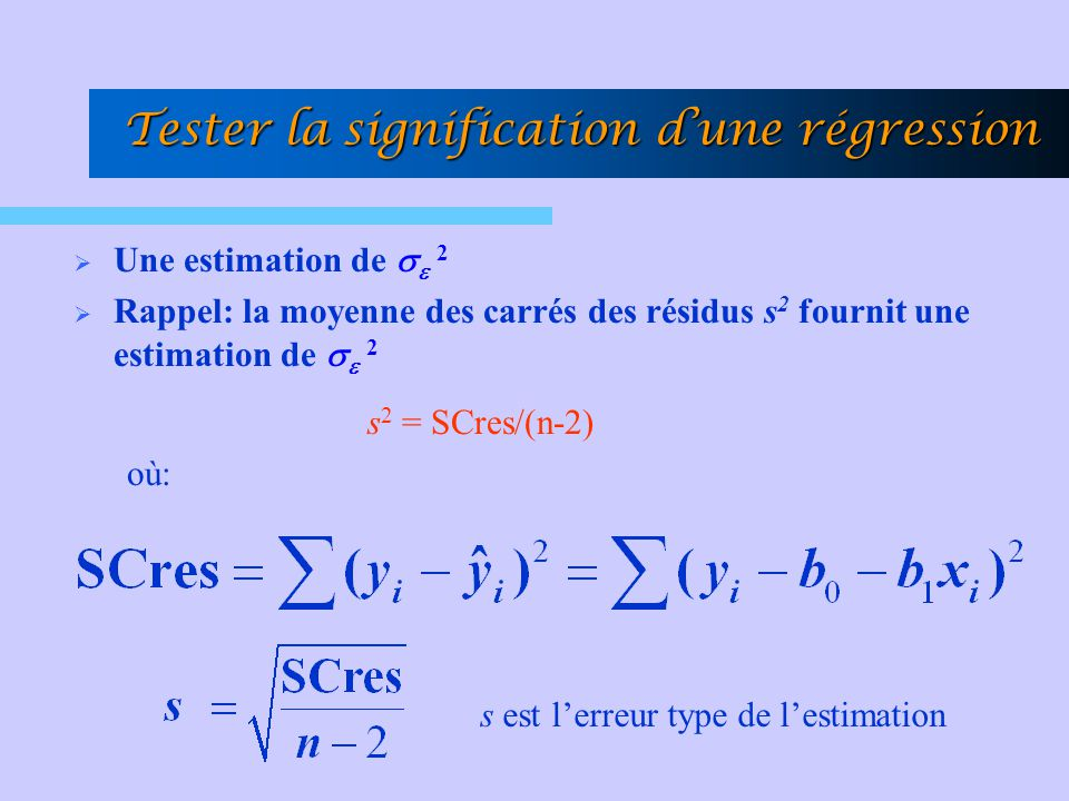 Tester la signification d'une régression