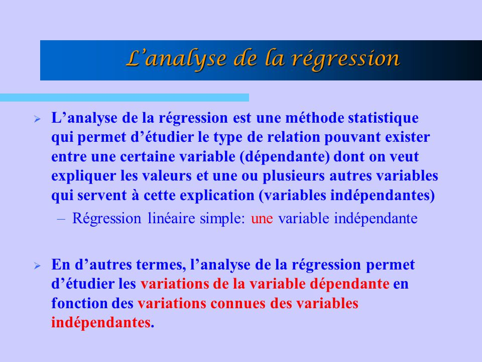 L'analyse de la régression