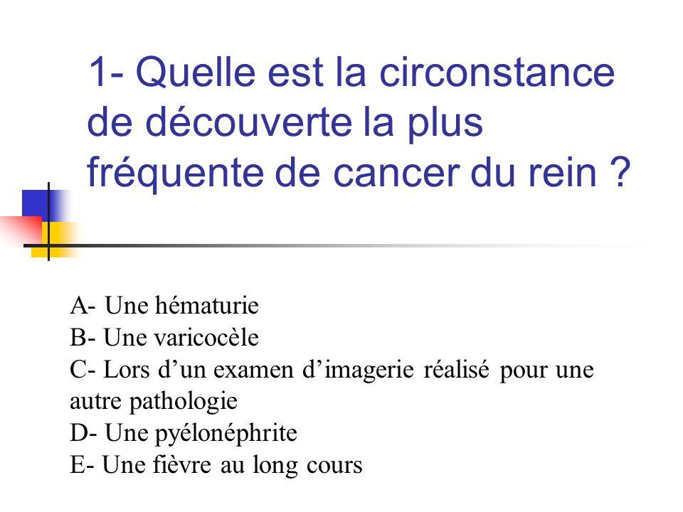 1- Quelle est la circonstance de découverte la plus fréquente de cancer du rein