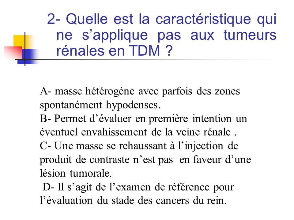 2- Quelle est la caractéristique qui ne s'applique pas aux tumeurs rénales en TDM