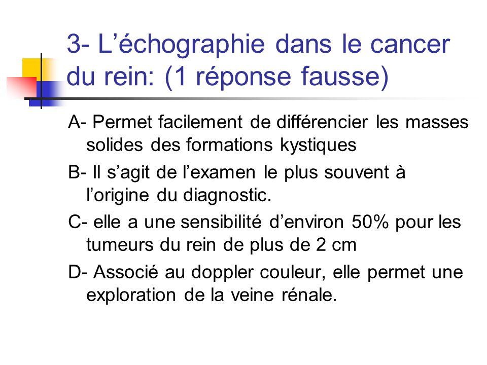 3- L'échographie dans le cancer du rein: (1 réponse fausse)