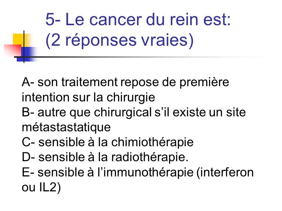 5- Le cancer du rein est: (2 réponses vraies)