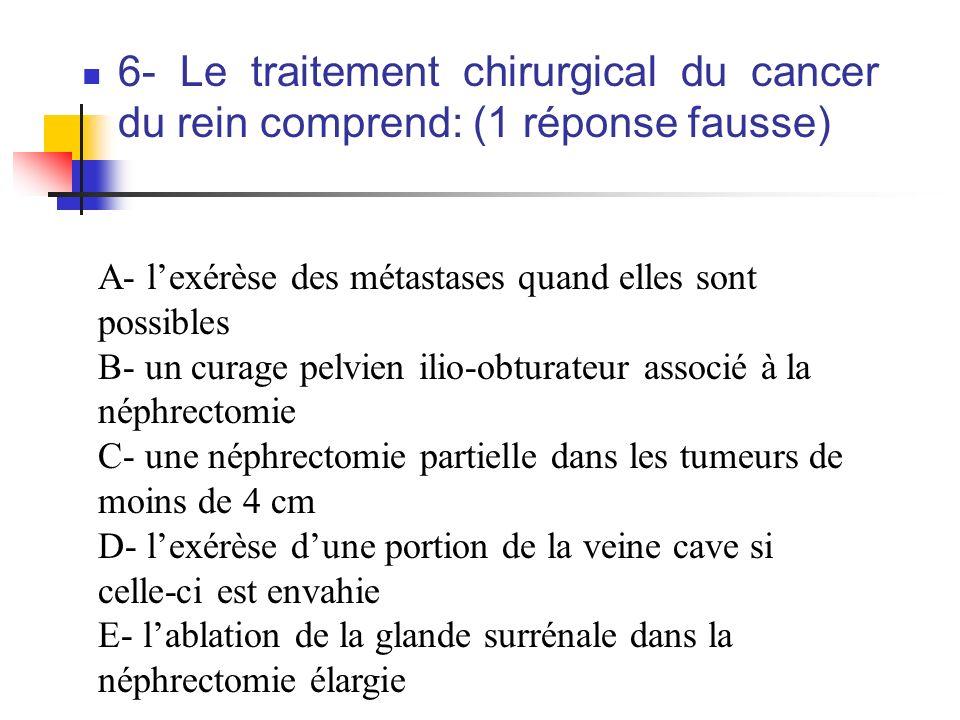 6- Le traitement chirurgical du cancer du rein comprend: (1 réponse fausse)