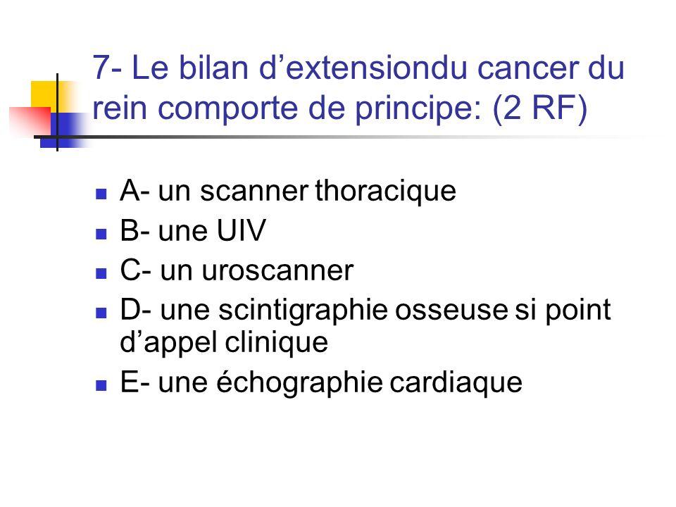7- Le bilan d'extensiondu cancer du rein comporte de principe: (2 RF)