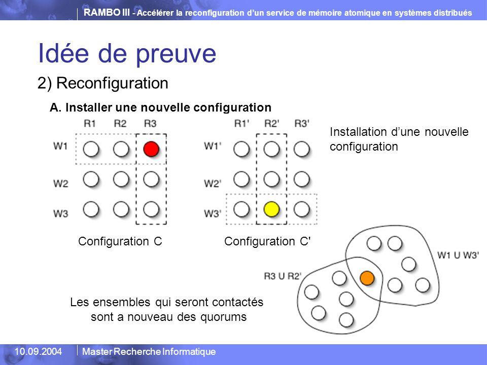 Idée de preuve 2) Reconfiguration