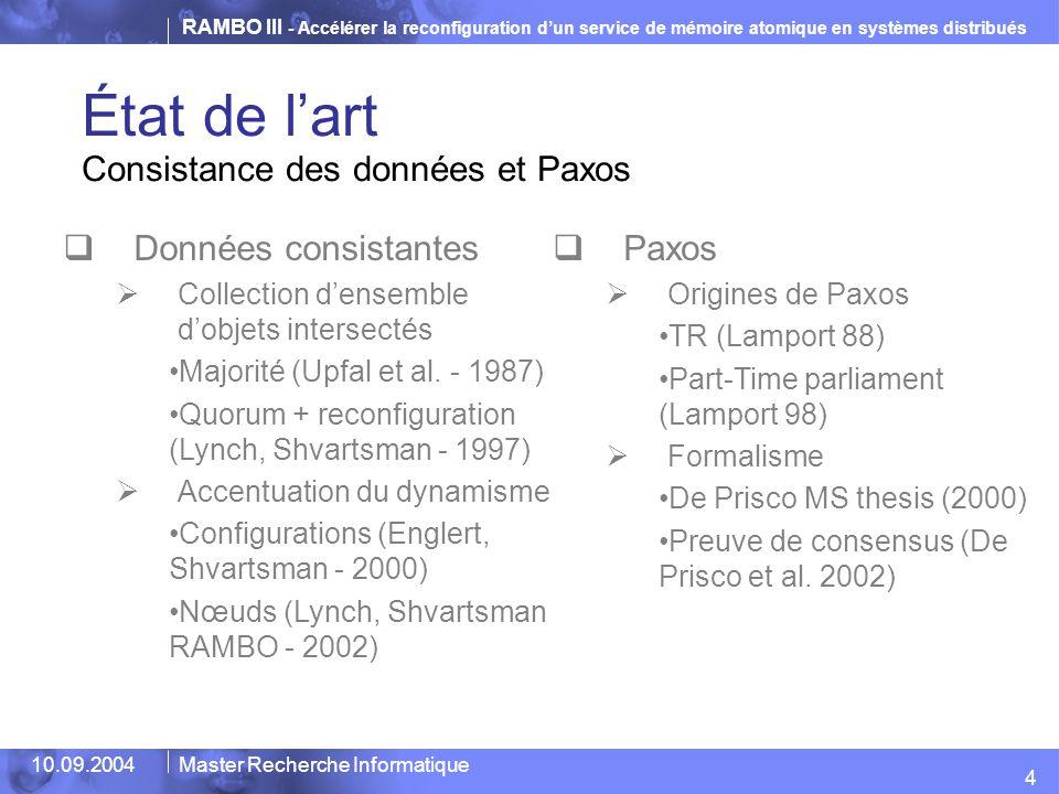 État de l'art Consistance des données et Paxos Données consistantes