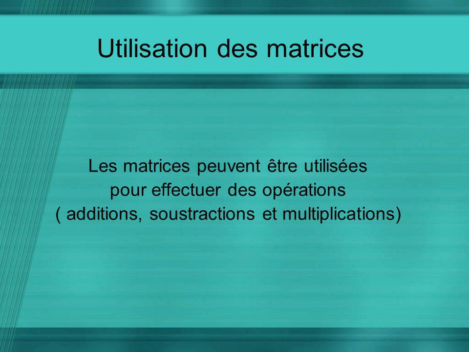 Utilisation des matrices