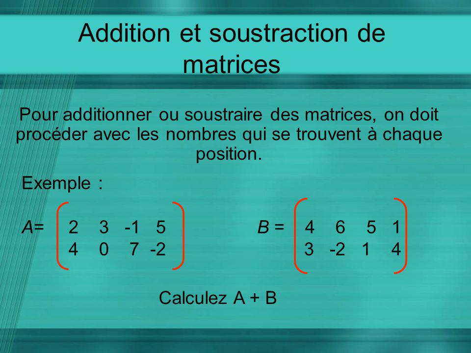 Addition et soustraction de matrices