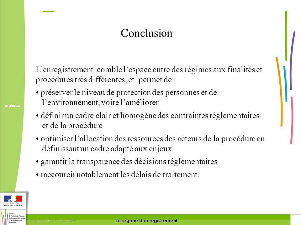 Conclusion L'enregistrement comble l'espace entre des régimes aux finalités et procédures très différentes, et permet de :