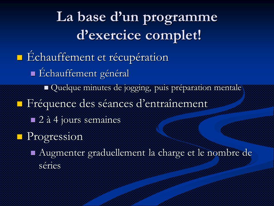 La base d'un programme d'exercice complet!