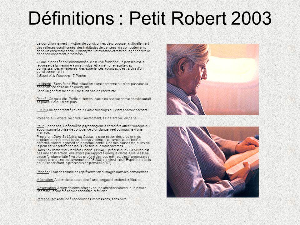 Définitions : Petit Robert 2003