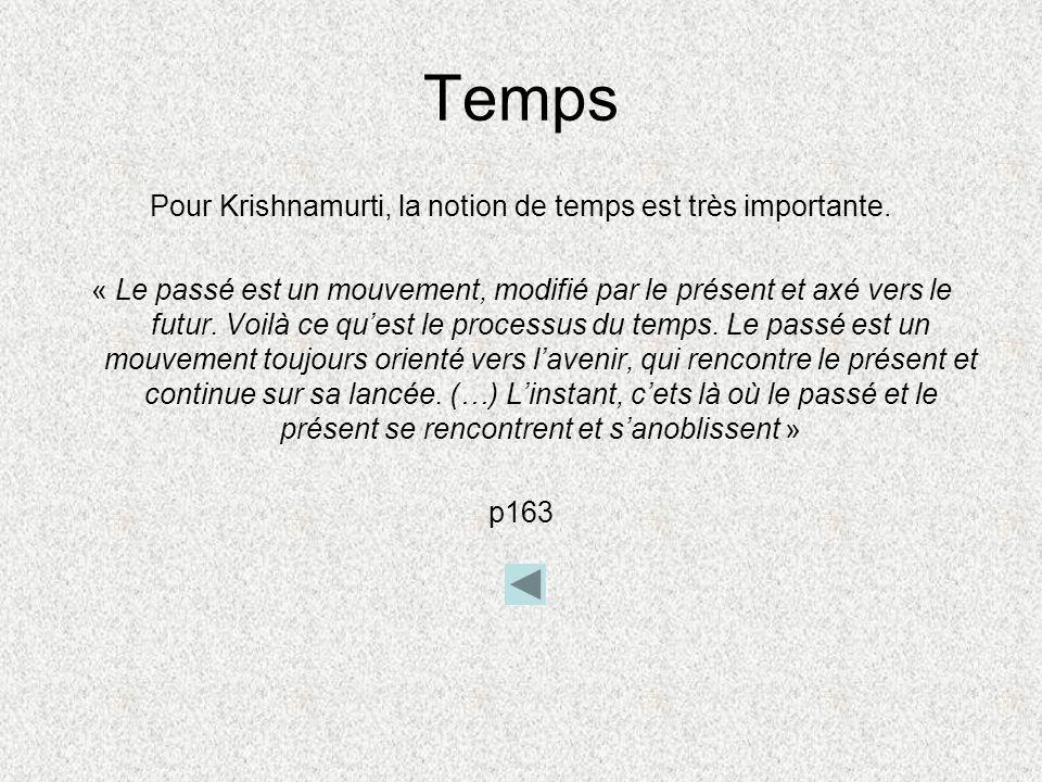 Pour Krishnamurti, la notion de temps est très importante.