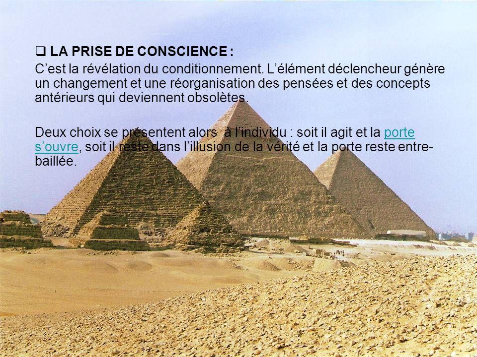 LA PRISE DE CONSCIENCE :