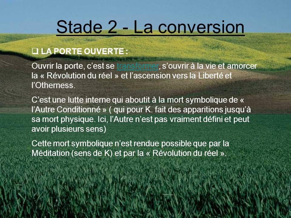 Stade 2 - La conversion LA PORTE OUVERTE :