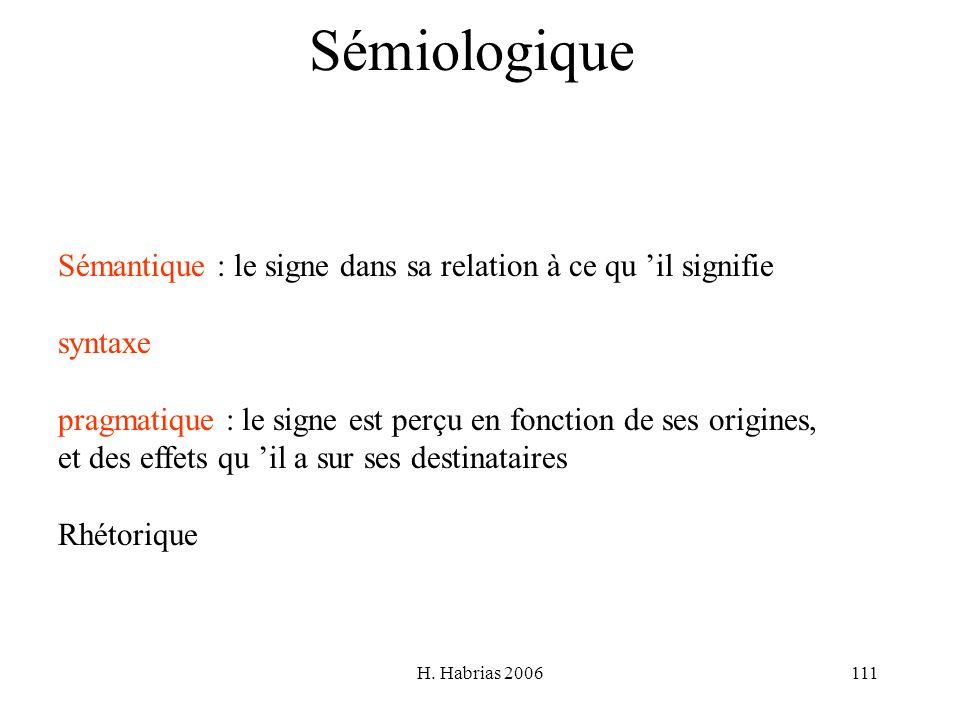 Sémiologique Sémantique : le signe dans sa relation à ce qu 'il signifie. syntaxe. pragmatique : le signe est perçu en fonction de ses origines,
