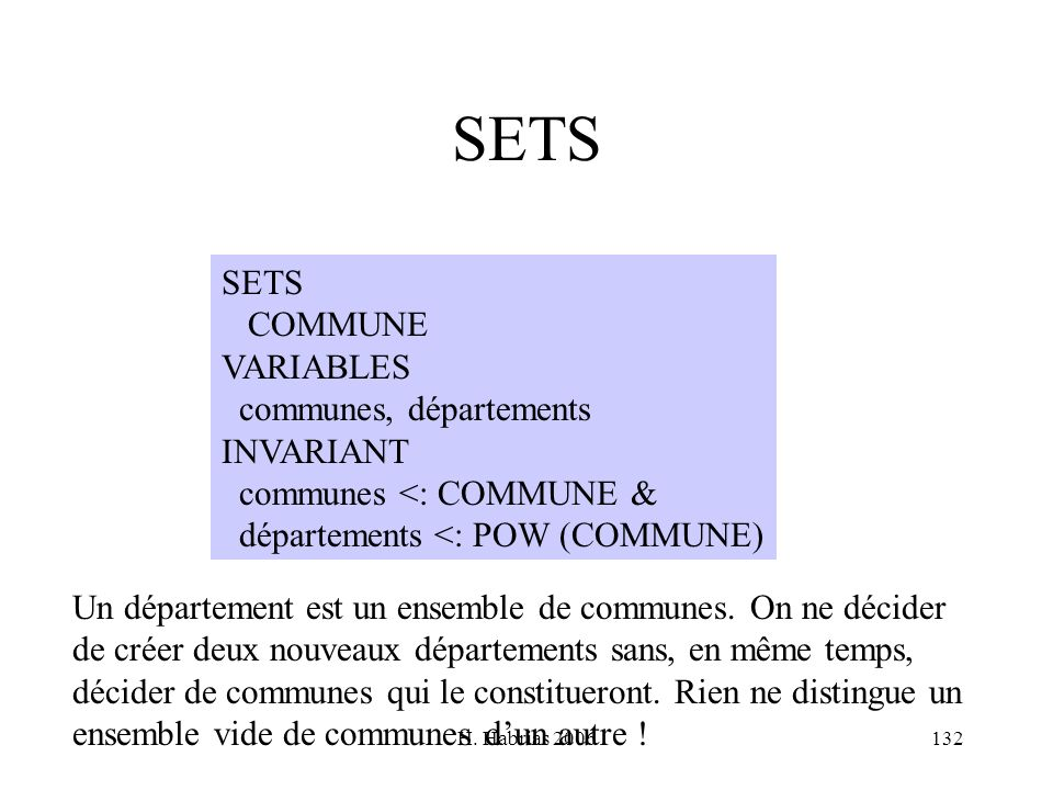 SETS SETS COMMUNE VARIABLES communes, départements INVARIANT