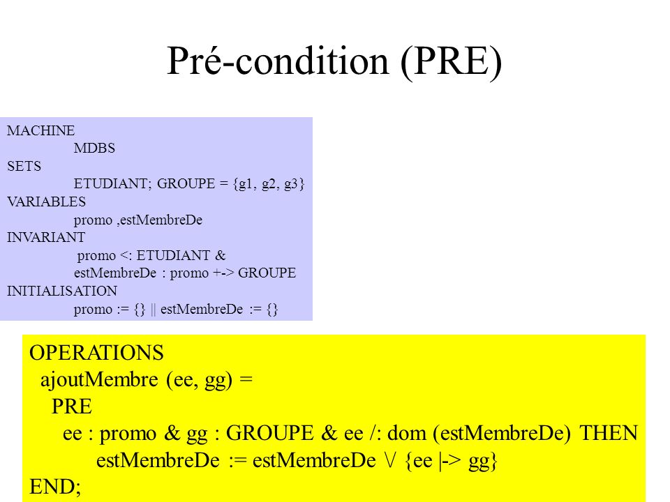 Pré-condition (PRE) OPERATIONS ajoutMembre (ee, gg) = PRE