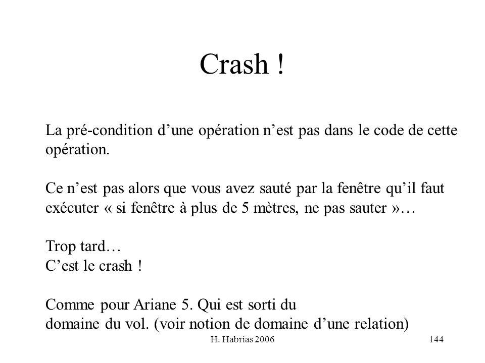 Crash ! La pré-condition d'une opération n'est pas dans le code de cette. opération.