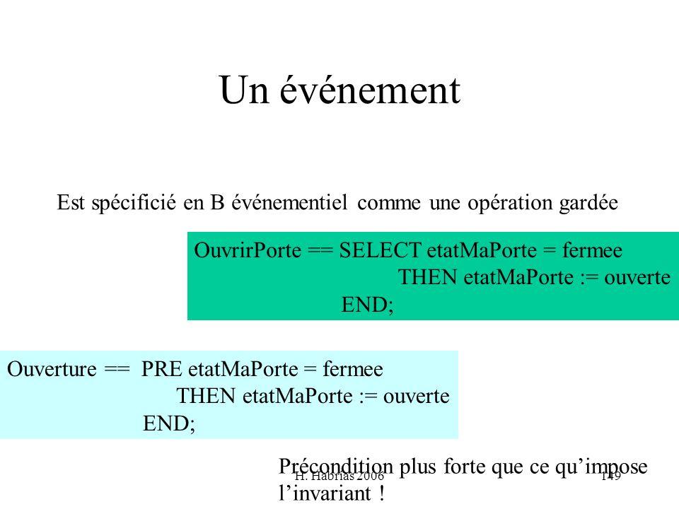 Un événementEst spécificié en B événementiel comme une opération gardée. OuvrirPorte == SELECT etatMaPorte = fermee.