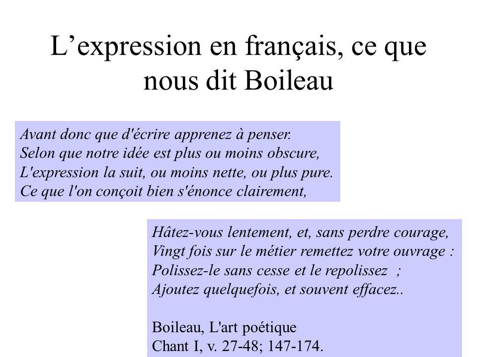 L'expression en français, ce que nous dit Boileau