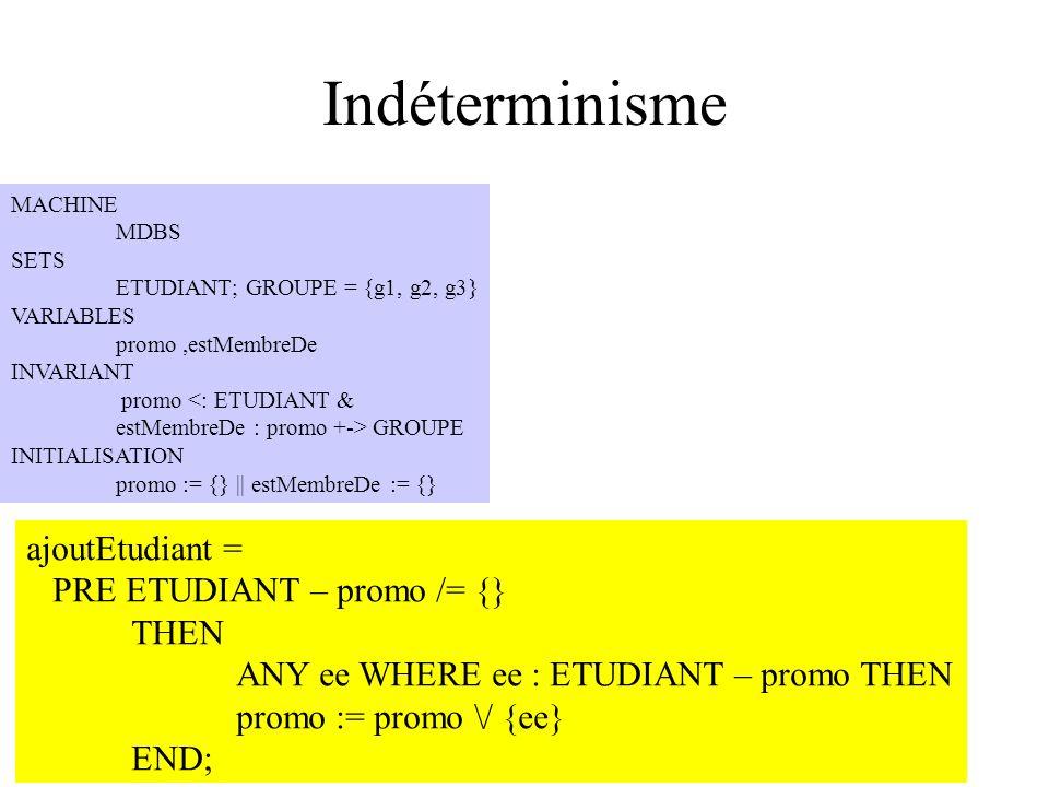 Indéterminisme ajoutEtudiant = PRE ETUDIANT – promo /= {} THEN